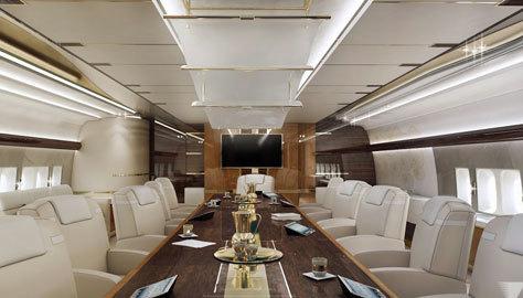 El avión cuenta con dos salas de reuniones como ésta.