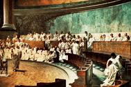 Cicerón, en el Senado romano, en su célebre alocución a Catilina, según el pintor Cesare Maccari.