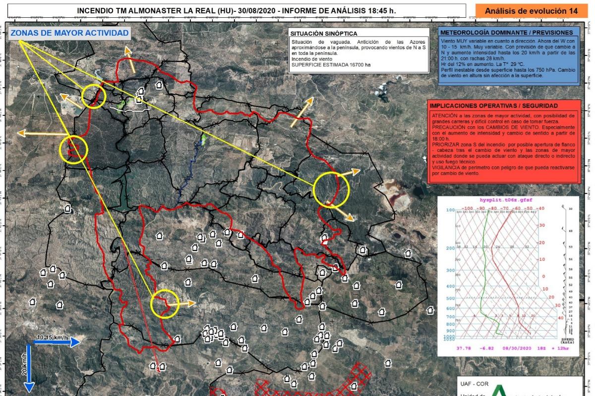 El documento interno del Infoca que recoge al cifra de 16.700 hectáreas afectadas.