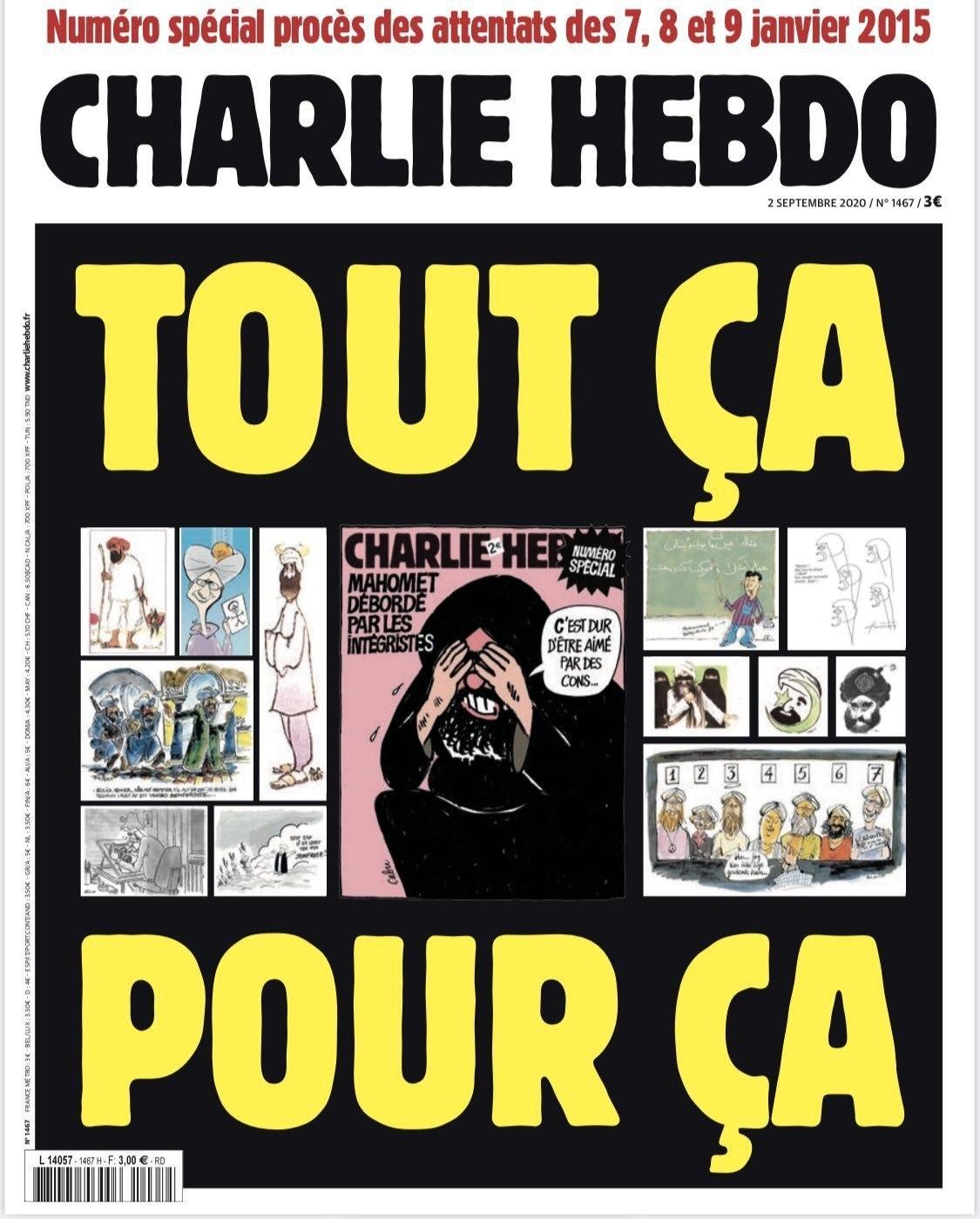 """Vista completa de la portada de 'Charlie Hebdo', con el texto """"Todo para esto""""."""