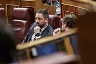 Santiago Abascal, junto a Iván Espinosa de los Monteros, en el Congreso.