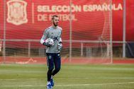 De Gea, en un entrenamiento de la selección en Las Rozas.
