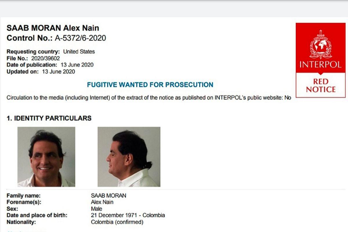 La notificación de captura roja internacional de Alex Saab, emitida por Interpol.