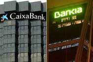 Sedes de CaixaBank y Bankia con el logotipo en dos de sus edificios.