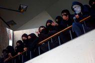 Estudiantes de la Pompeu Fabra de Barcelona, en la huelga que hubo en octubre en los campus catalanes contra el fallo del 1-O