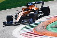 Sainz, con el MCL-35, en la clasificación del GP de Italia.