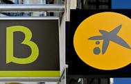 Combinación de los logotivos de Bankia (i) y CaixaBank.