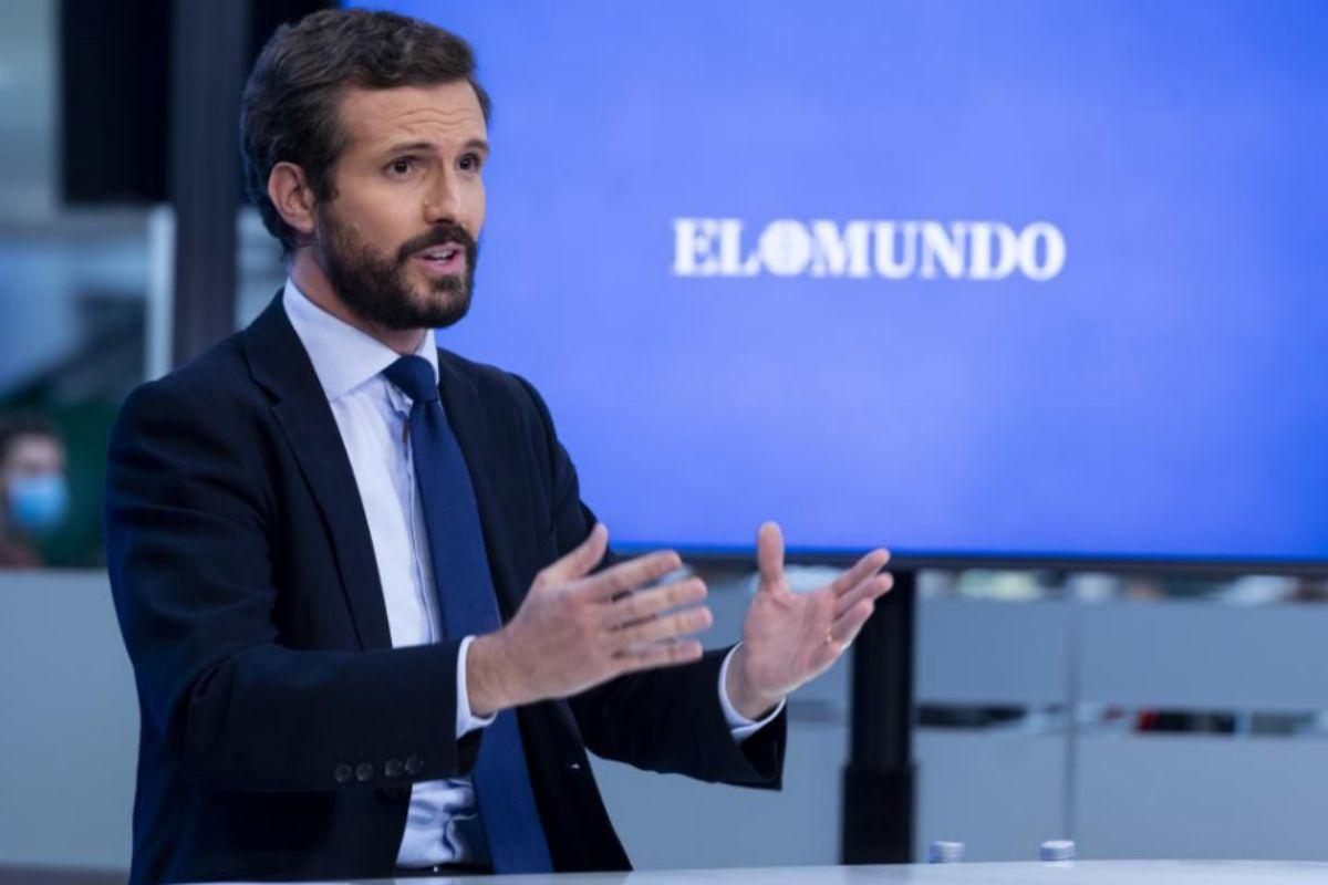 Pablo Casado, durante el encuentro con EL MUNDO.