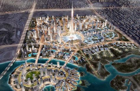 La Dubai Tower Creek iluminada.