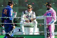 Gasly, Sainz y Stroll, el domingo, en el podio del GP de Italia.