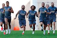 Los jugadores del Madrid, en pleno entrenamiento de pretemporada.