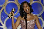 Regina King, que acaba de dirigir, 'One night in Miami', recoge el Globo de Oro por 'El blues de Beale Street'.