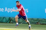Messi, durante un entrenamiento con el Barça.