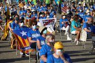 Concentración independentista por la Diada en Gerona.