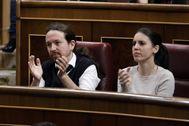 Pablo Iglesias e Irene Montero, durante el pleno de investidura de Pedro Sánchez.
