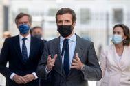 El líder del PP, Pablo Casado, en el Congreso la pasada semana.