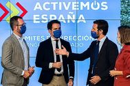 Pablo Casado, reunido ayer con Javier Maroto, Teodoro Gª Egea y Cuca Gamarra.