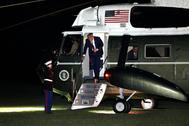 Donald Trump, este martes a su llegada a la Casa Blanca desde Filadelfia.