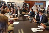 El alcalde de Benidorm, Toni Pérez, junto al secretario autonómico de Turismo, Francesc Colomer, y el presidente de la Diputación, Carlos Mazón, en la presentación del corredor.