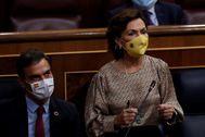 Carmen Calvo y Pedro Sánchez, este miércoles en el Congreso.