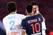 Neymar, durante su trifulca con Álvaro.