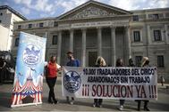 Protesta de la asociación Circos Reunidos, este miércoles frente al Congreso.