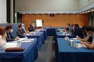 Los miembros de la Comisión Mixta Cortes-Consell que se ha reunido este miércoles.
