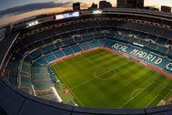 Imagen aérea del estadio Santiago Bernabéu.
