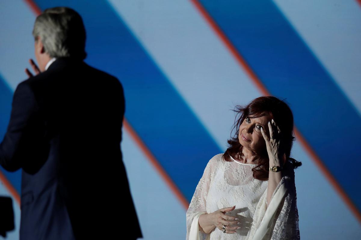 Cristina Kirchner durante el discurso inaugural de Alberto Fernández.