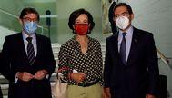 GRAF7592. MADRID.- El presidente de Bankia, José Ignacio Goirigolzarri (i), la presidenta del Banco Santander, lt;HIT gt;Ana lt;/HIT gt; Patricia lt;HIT gt;Botín lt;/HIT gt; (c) y el presidente del BBVA, lt;HIT gt;Carlos lt;/HIT gt; lt;HIT gt;Torres lt;/HIT gt; (d) antes del comienzo de la conferencia del presidente del Gobierno, Pedro Sánchez, en Casa América, en Madrid, este lunes.   POOL