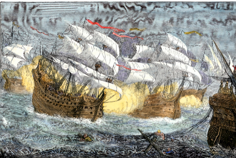 AC2GFF Seizure of Spanish treasure ships by the English fleet of Sir Francis lt;HIT gt;Drake lt;/HIT gt;. Hand-colored woodcut