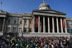 Manifestación contra las nuevas restricciones, en Trafalgar Square, en Londres.