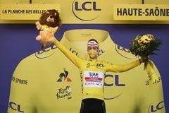Tadej Pogacar, en el podio del Tour de Francia