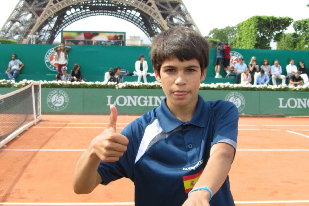 Carlos, en el Roland Garros Longines sub-13.