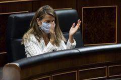La ministra de Trabajo, Yolanda Díaz, el pasado mes de julio en el Congreso de los diputados..
