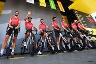 El equipo Arkea, el pasado viernes, en la salida de la 19ª etapa del Tour.