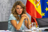 La ministra de Trabajo, Yolanda Díaz, en la rueda de prensa tras el Consejo de Ministros.