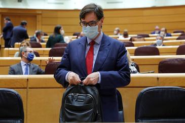 El ministro de Sanidad, Salvador Illa, en la sesión del Control del Senado.