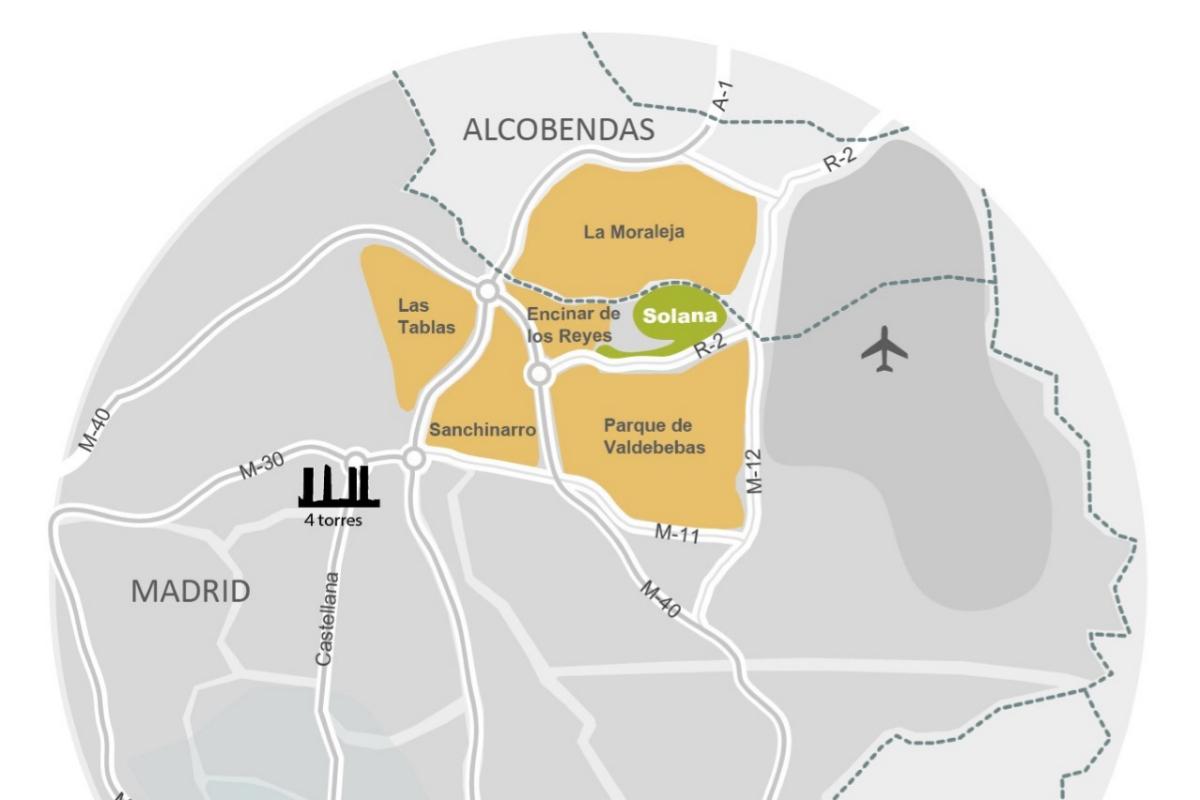 Situación en el mapa de La Solana de Valdebebas.