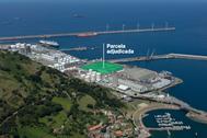 Imgen proporcionada por el Puerto en la que se señala la parcela adjudicada.