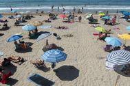 Playa de Benidorm parcelada, el pasado mes de julio.