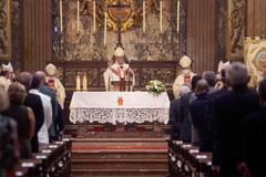 El arzobispo de Barcelona y presidente de la Conferencia Episcopal, Juan José Omella, ayer en la basílica de la Merced.