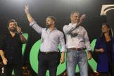 Los líderes de Vox Espinosa de los Monteros, Abascal, Ortega Smith y Monasterio, durante un mitin en 2019.