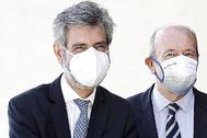 El presidente del CGPJ, Carlos Lesmes (izq.), junto al ministro de Justicia, Juan Carlos Campo.