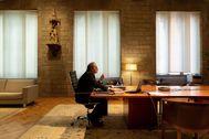Quim Torra, durante una videoconferencia en su despacho de la Generalitat.