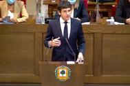 El diputado general de Bizkaia durante su intervención en Gernika.