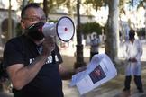 Concentracion de protesta de trabajadores autonomos el pasado mes de junio en Sevilla.
