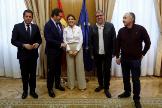Yolanda Díaz, ministra de Trabajo, Gerardo Cuerva, Antonio Garamendi, Unai Sordo y Pepe Álvarez.