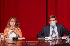 GRAF9565. PALMA DE MALLORCA, 04/09/2020.- La ministra de Trabajo y Economía Social, lt;HIT gt;Yolanda lt;/HIT gt; lt;HIT gt;Díaz lt;/HIT gt; (i) y el ministro de Inclusión, Seguridad Social y Migraciones, José Luis lt;HIT gt;Escrivá lt;/HIT gt; (d) presiden la Mesa de la Comisión de Seguimiento Tripartita Laboral la que se debatirá sobre la prolongación de los ERTE, entre otros temas, y que se ha celebrado este viernes en Palma de Mallorca. EFE/ Atienza