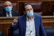 El vicepresidente segundo del Gobierno, Pablo Iglesias, este miércoles, en el Congreso.